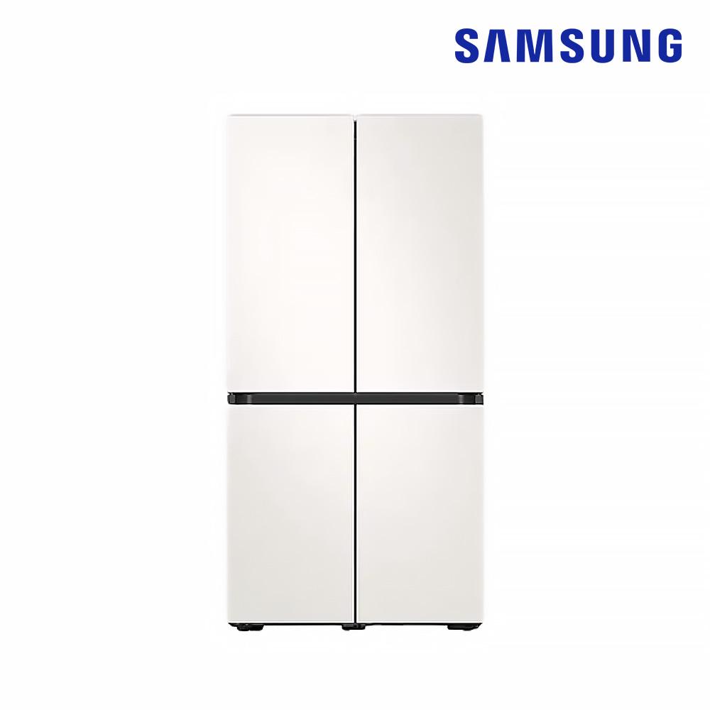 [삼성] 양문형 냉장고(Bespoke) 4도어 871L 코타 화이트 (RF85R901301) [스마트렌탈]